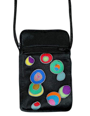 Invisible World Cell phone bag Black Hand-Painted Silk Cell Phone Mini-Purse - New Retro