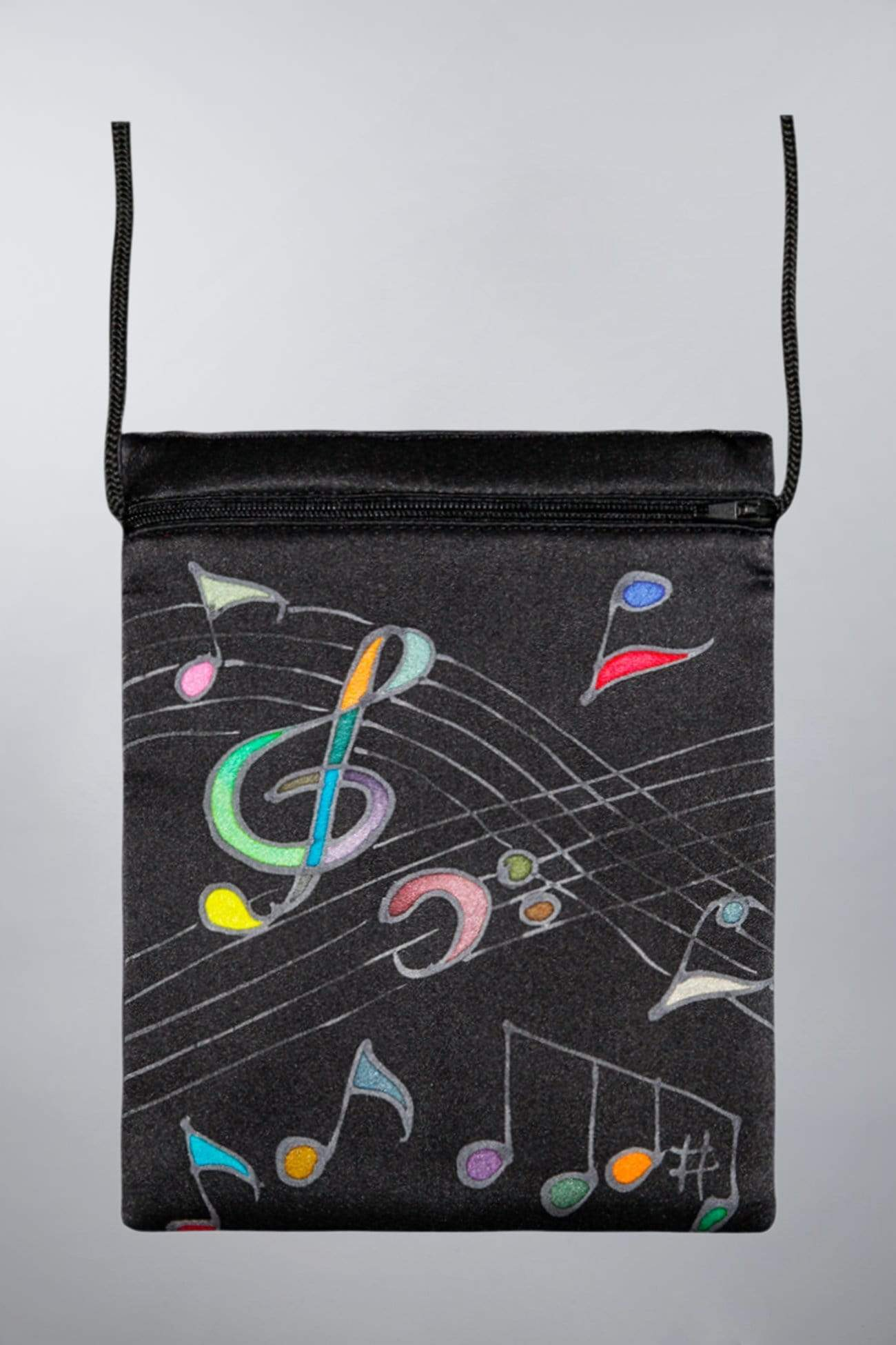 Invisible World Silk Bags Black Hand-Painted Silk Passport Bag - Music