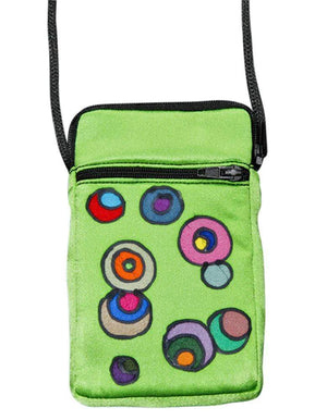 Hand-Painted Silk Cell Phone Mini-Purse - New Retro