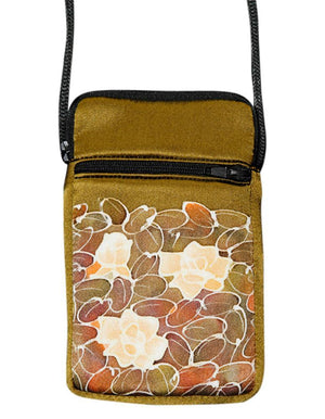 Hand-Painted Silk Cell Phone Mini-Purse - Mono Flower