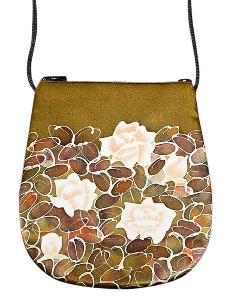 Invisible World Perfume Bags Brown Hand Painted Silk Perfume Bag - Monochrome Flower
