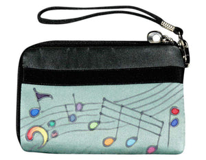 Hand Painted Silk Strap Wallet - Music