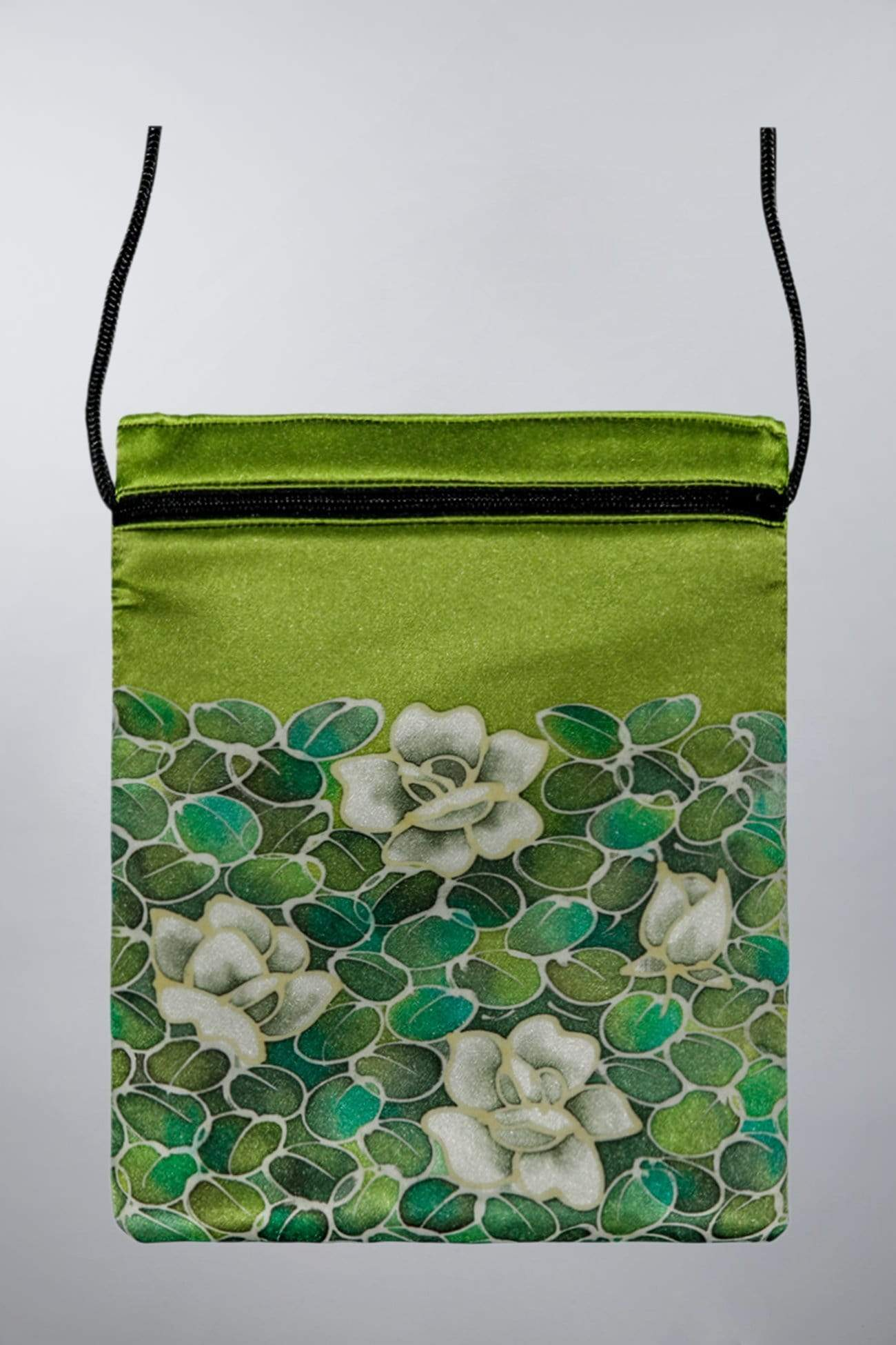 Invisible World Silk Bags Chartreuse Green Hand-Painted Silk Passport Bag - Monochrome Flower