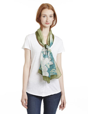 Deluxe Long Hand Painted Satin Silk Scarf Lotus Dragonfly