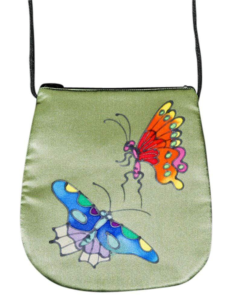 Invisible World Perfume Bags Gray Green Hand Painted Silk Perfume Bag - Butterfly