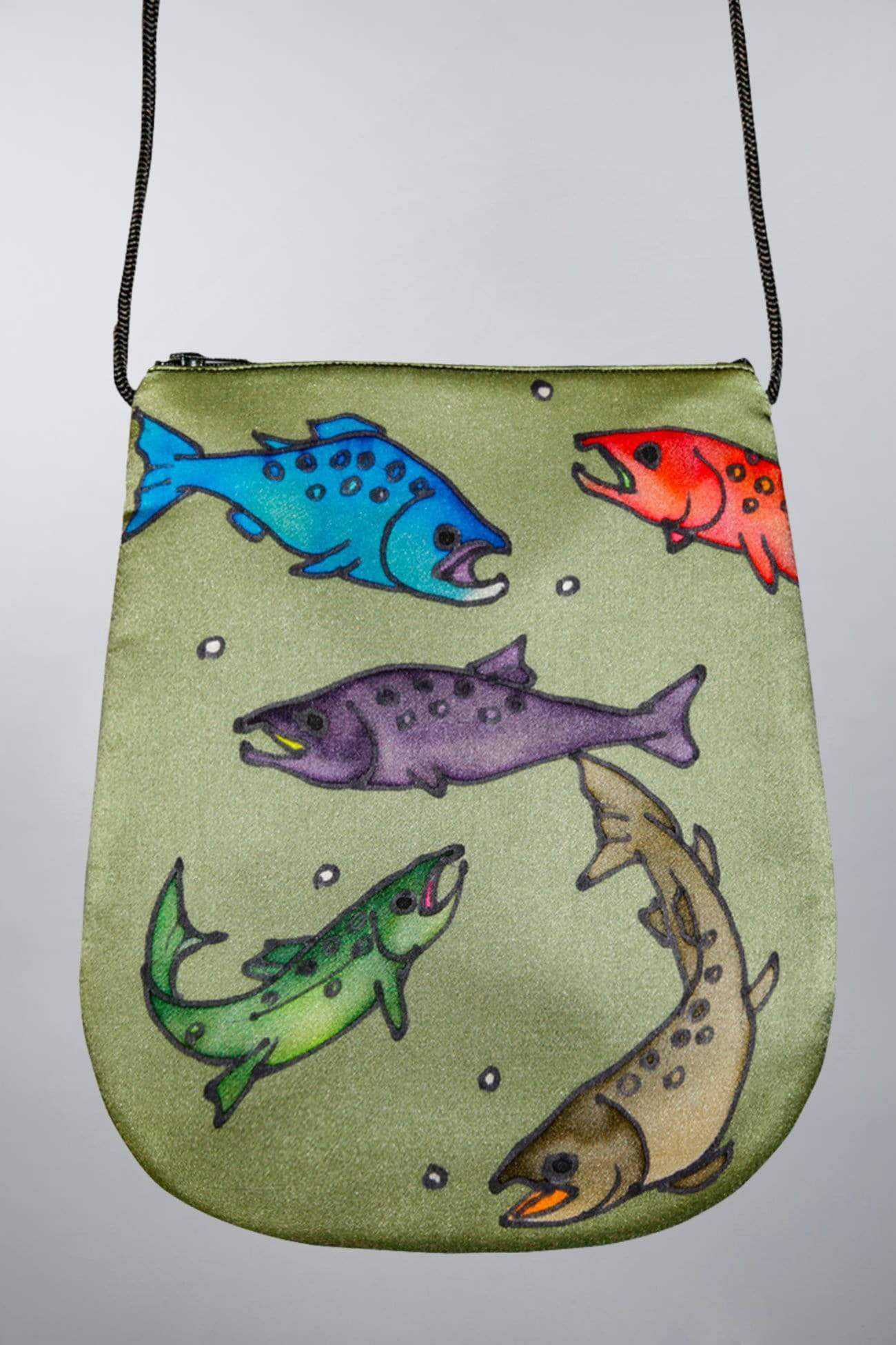 Invisible World Perfume Bags Gray Green Hand Painted Silk Perfume Bag - Salmon