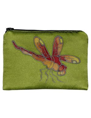 Hand-Painted Silk Change Purse -Dragonfly