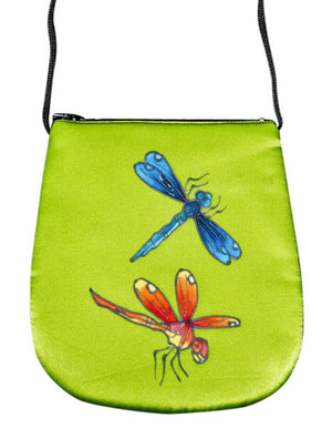 Invisible World Perfume Bags Green Tea Hand Painted Silk Perfume Bag - Dragonfly