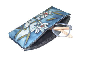 Hand-Painted Silk Eyeglass Case Blue Lilly