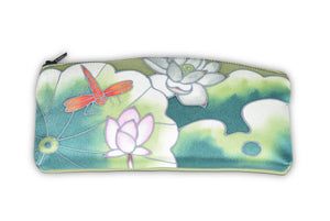 Hand-Painted Silk Eyeglass Case Lotus Dragonfly