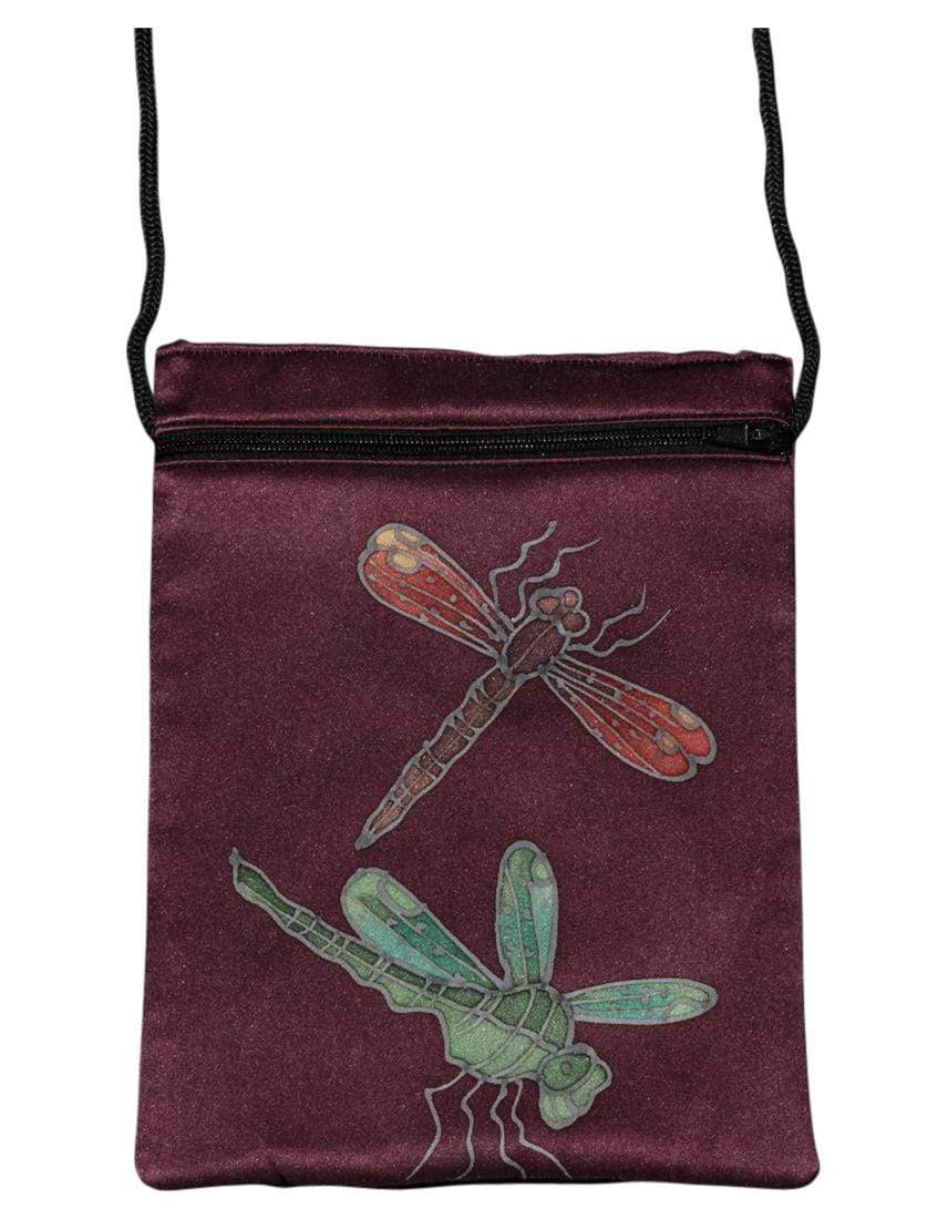 Invisible World Silk Bags Hand-Painted Silk Passport Bag - Dragonfly Burgundy
