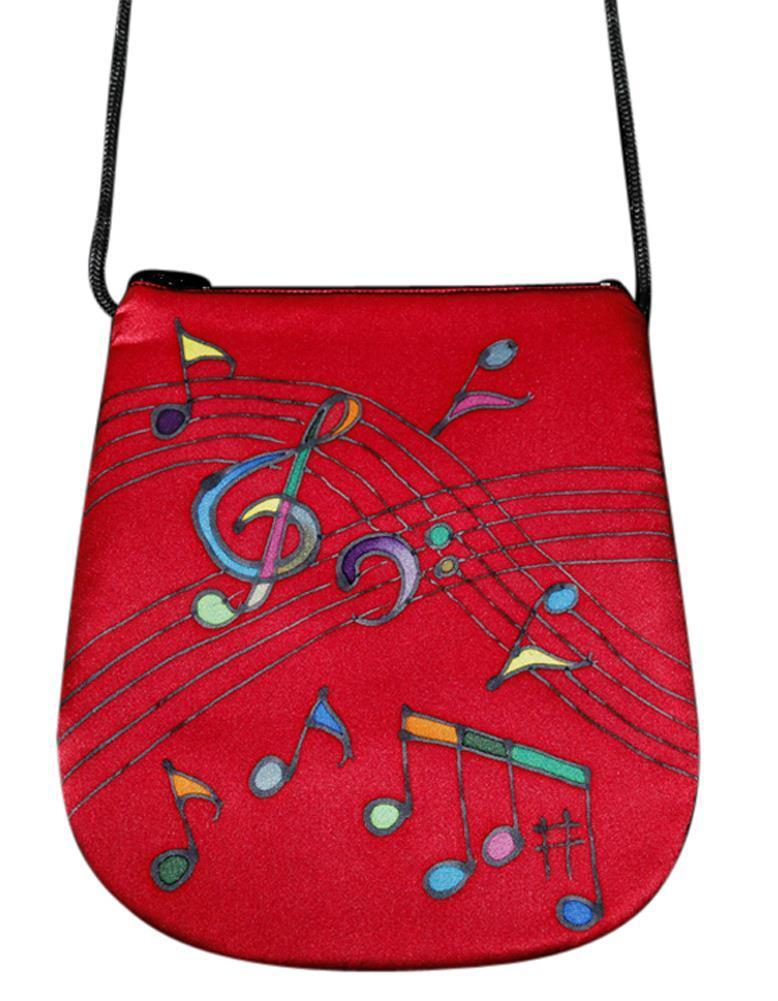 Invisible World Perfume Bags Hand Painted Silk Perfume Bag - Music Red