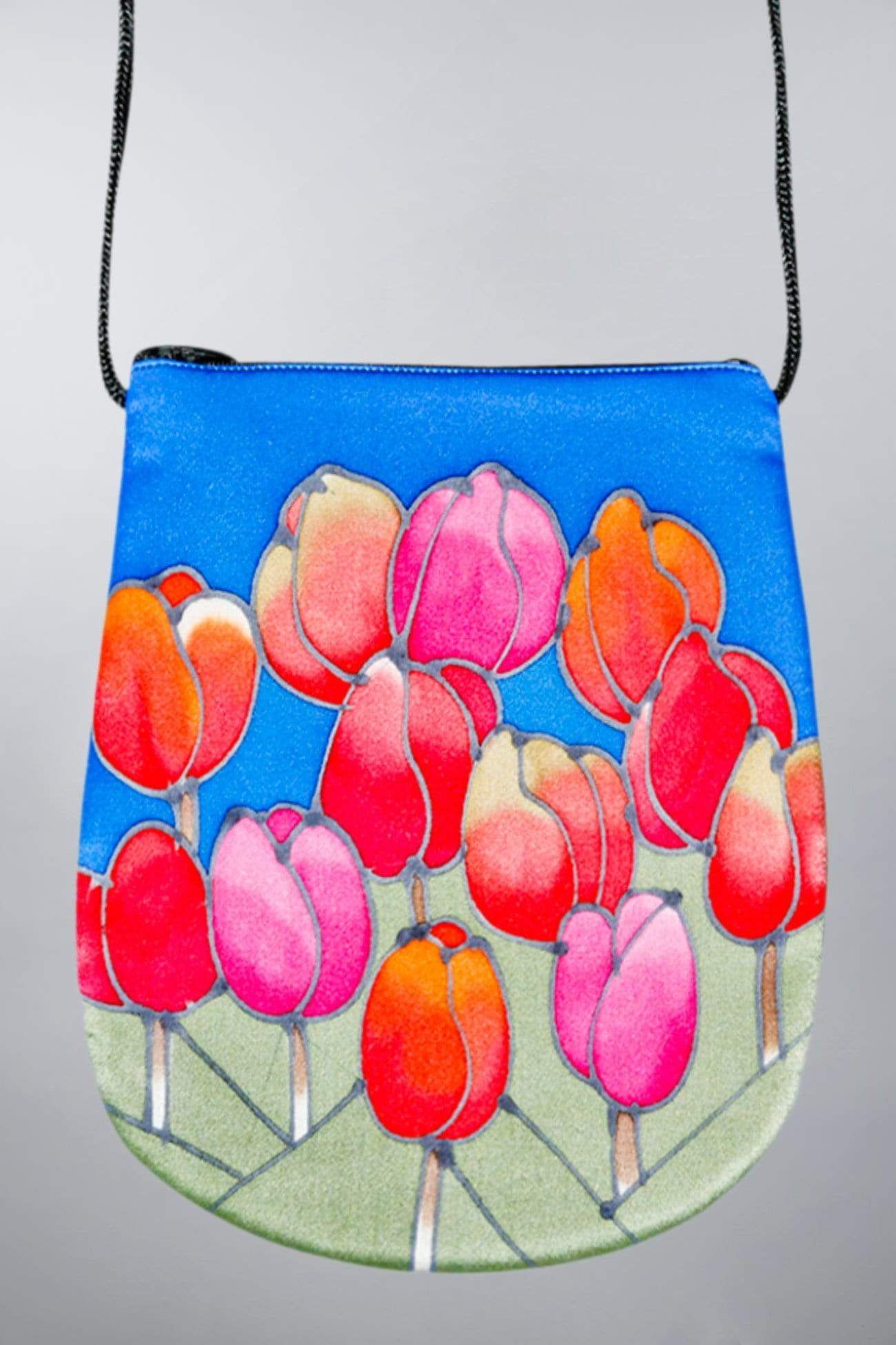 Invisible World Perfume Bags Hand Painted Silk Perfume Bag - Tulips