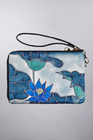 Invisible World Strap Wallets Hand Painted Silk Strap Wallet - Blue Lotus