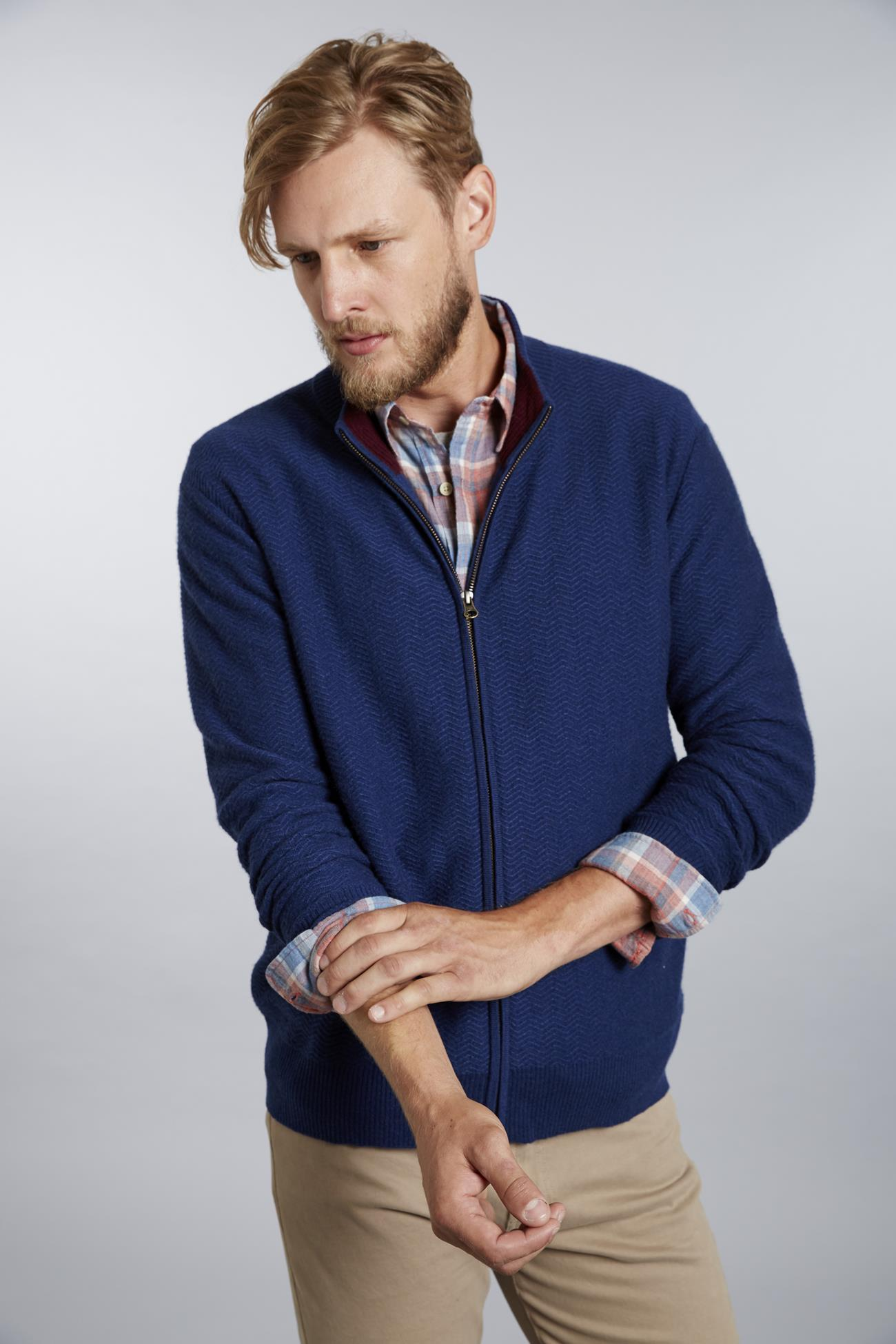 Herringbone Texture Men's Cashmere Cardigan Sweater