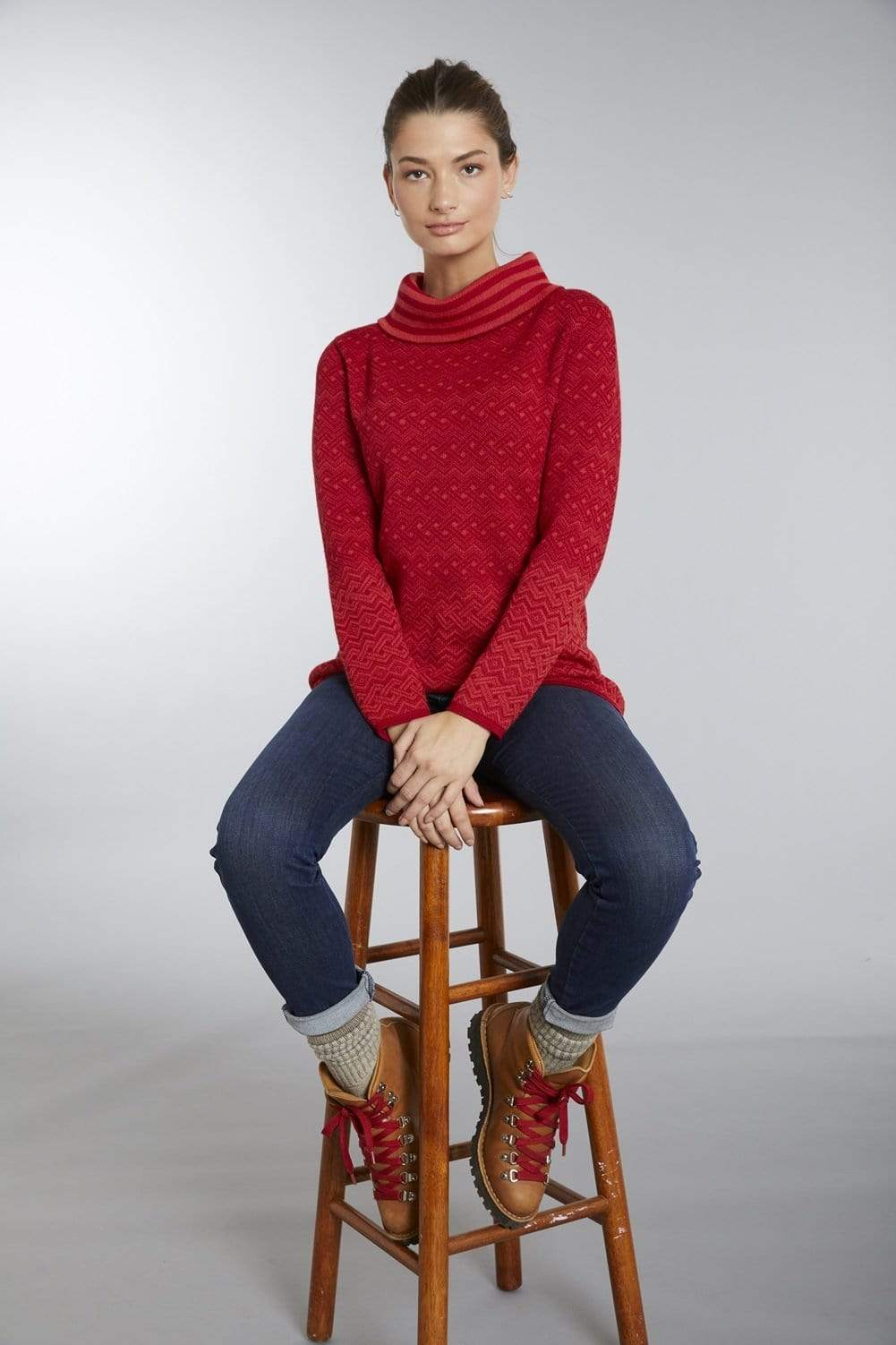 Invisible World Women's Pullover Isis Red Cowl Neck Baby Alpaca Sweater for Women