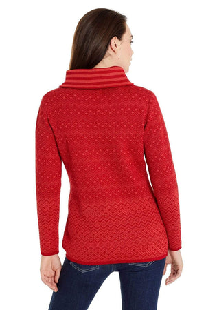 Isis Red Cowl Neck Baby Alpaca Sweater for Women