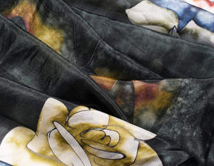 Long Hand Painted Silk Scarf - Blue Roses