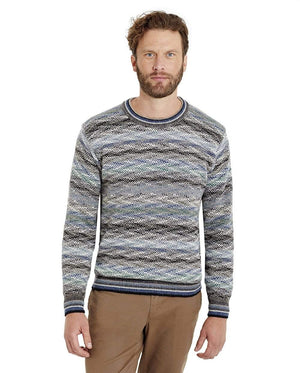 Men's Luca Blue and White Pullover