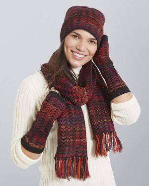 Invisible World Noelle Red Alpaca Hat Glove and Scarf Set