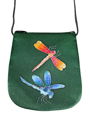 Hand Painted Silk Purse Perfume Bag - Dragonfly