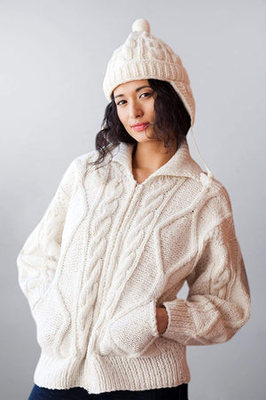 Invisible World Women's Cardigan Otavalo Cable-Knit Cardigan