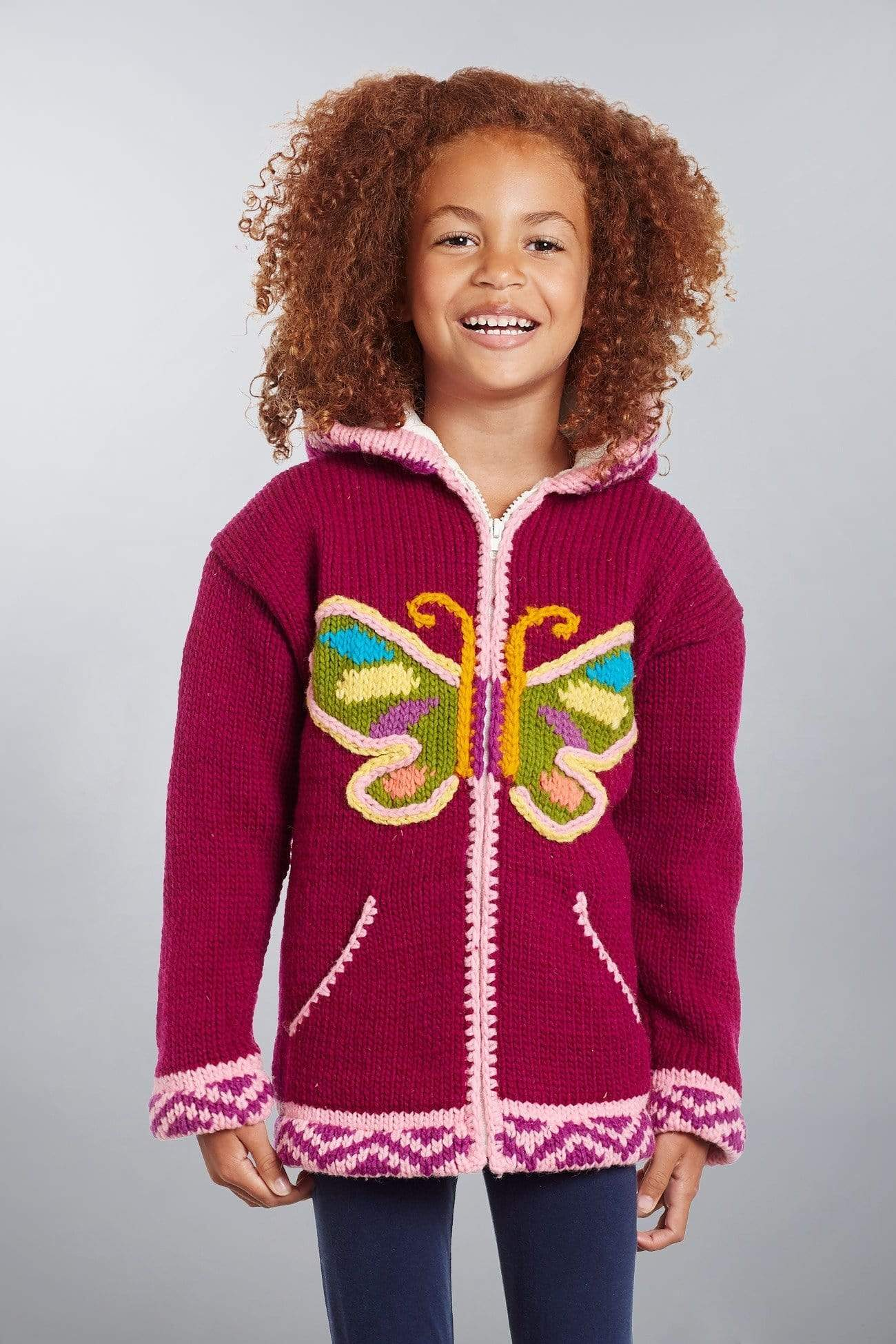 Invisible World Kids Sweaters Otavalo Kid's Sweater Coat Butterfly
