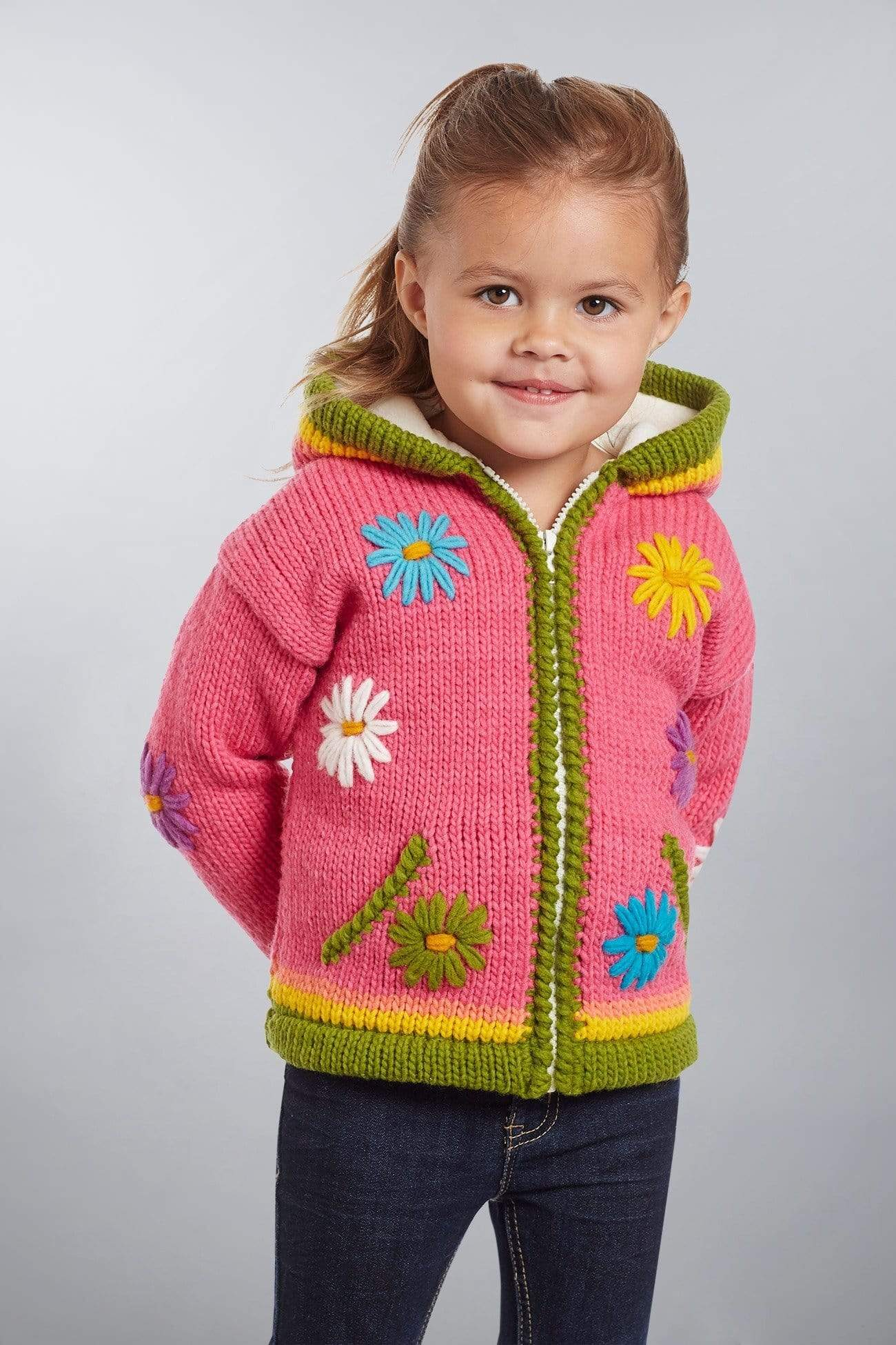 Invisible World Kids Sweaters Otavalo Kid's Sweater Coat Flower