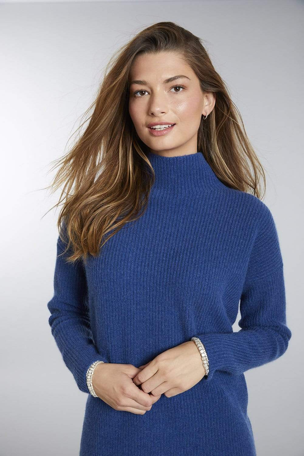 Purl Knit Mock Neck Cashmere Sweater for Women