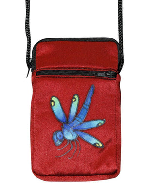 Invisible World Cell phone bag Russet Hand-Painted Silk Cell Phone Mini-Purse - Dragonfly