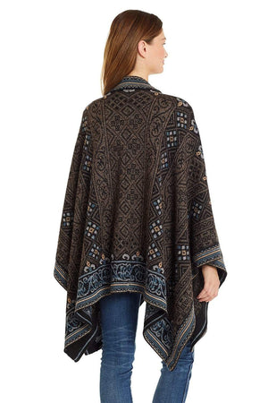 Sarah Embroidered Alpaca Poncho - Women's Ruana Wrap