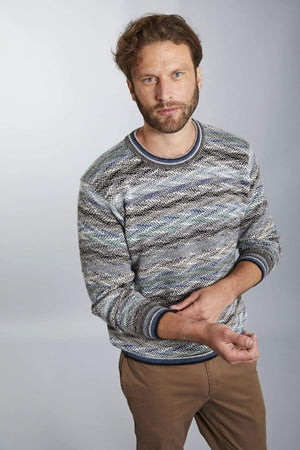 Invisible World Men's Pullover Small Men's Luca Blue and White Pullover