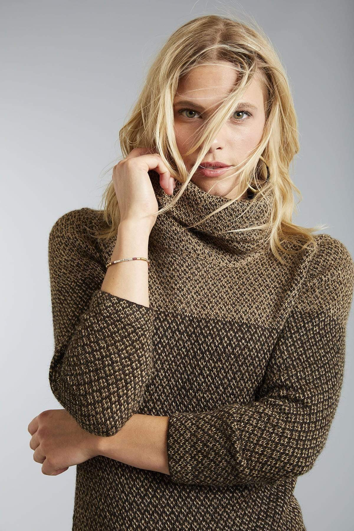Nuru Cowl Neck Alpaca Sweater for Women