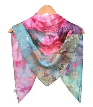 Square Hand Painted Silk Scarf - Spring Bouquet