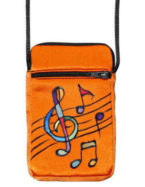 Invisible World Cell phone bag Tangerine Hand-Painted Silk Cell Phone Mini-Purse - Music
