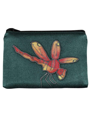 Invisible World Change Purse Teal Hand-Painted Silk Change Purse -Dragonfly