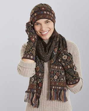 Invisible World Tibet Alpaca Hat Glove and Scarf Set