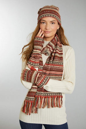 Invisible World Toboggan Alpaca Hat Glove and Scarf Set