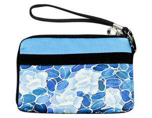 Invisible World Strap Wallets Turquoise Hand Painted Silk Strap Wall- Monochrome Flower