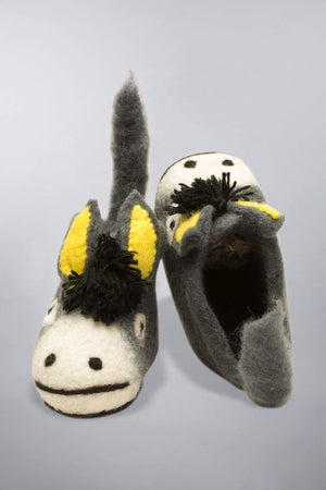 Invisible World Kids Slippers Wool Felt Baby and Kids' Slippers - Donkey