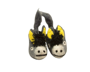 Wool Felt Baby and Kids' Slippers - Donkey