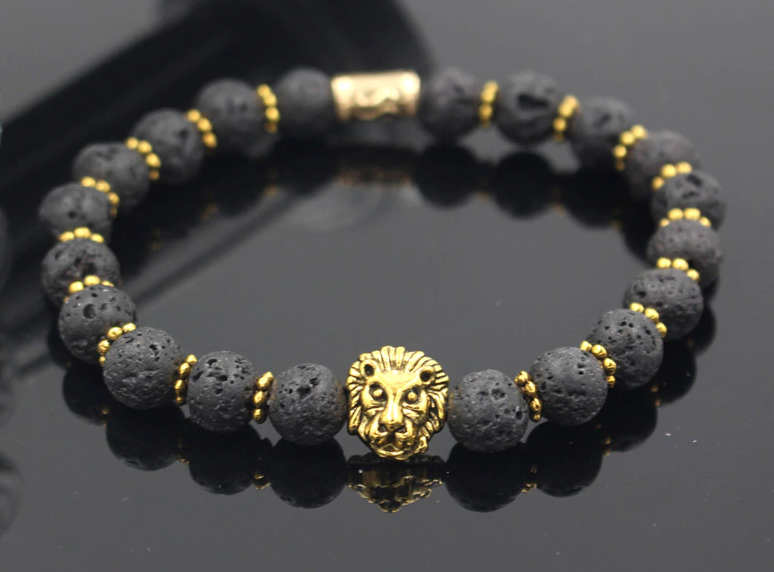 Wholesale Hot Sale Men Yoga Jewelry Fashion 8mm Lava Stone Antique Gold Lion Head Charm Elastic Bead Bracelet Men's Jewelry