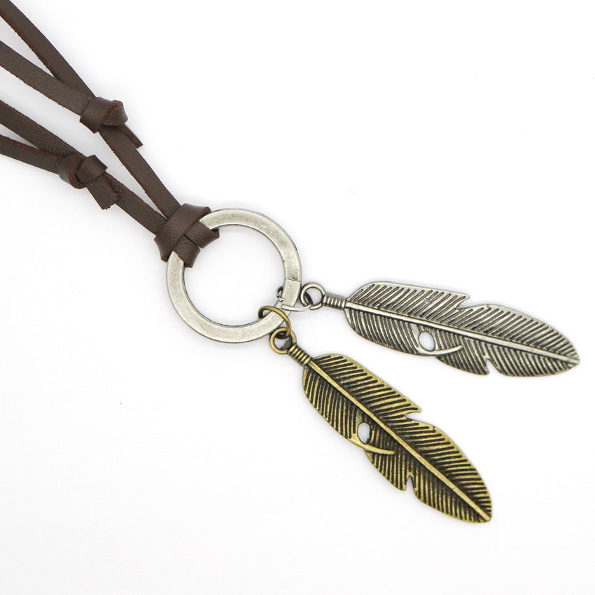 Adjustable Casual Wings Leather Necklace
