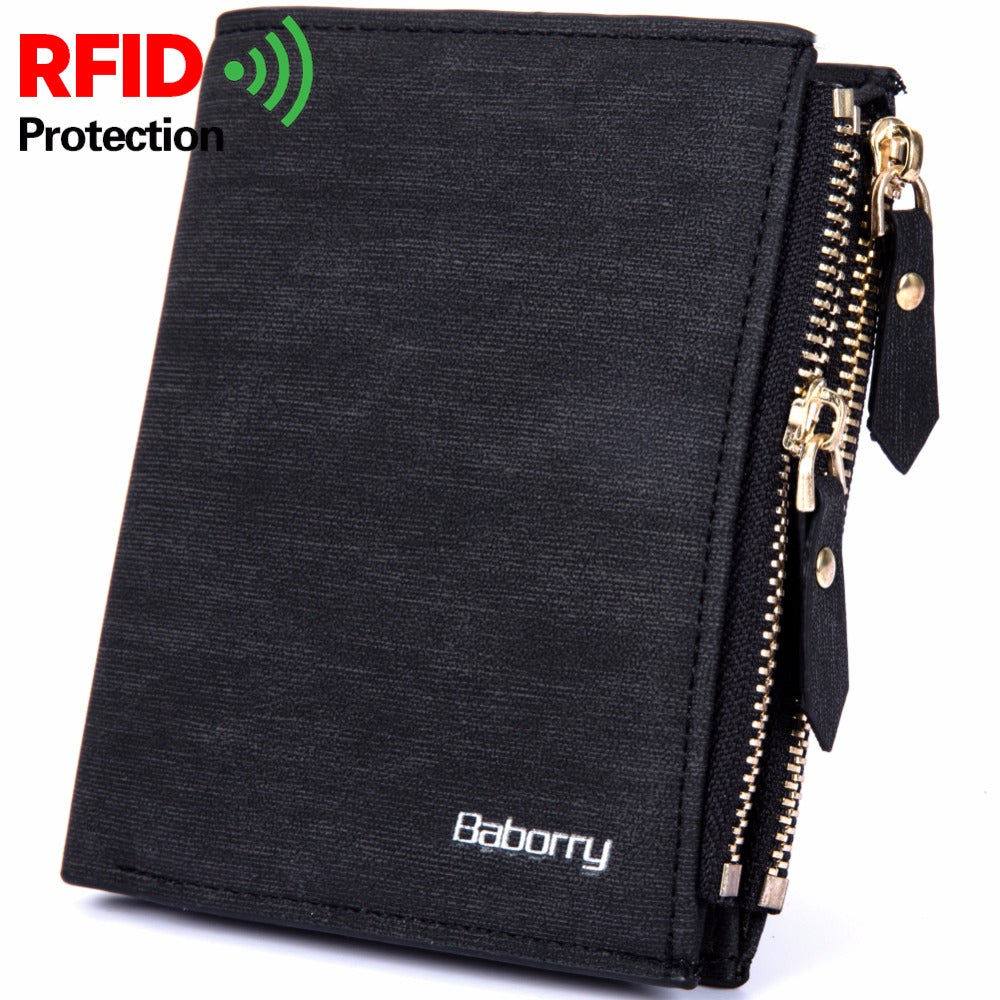 RFID Theft Protec Coin Bag Zipper Men Wallet