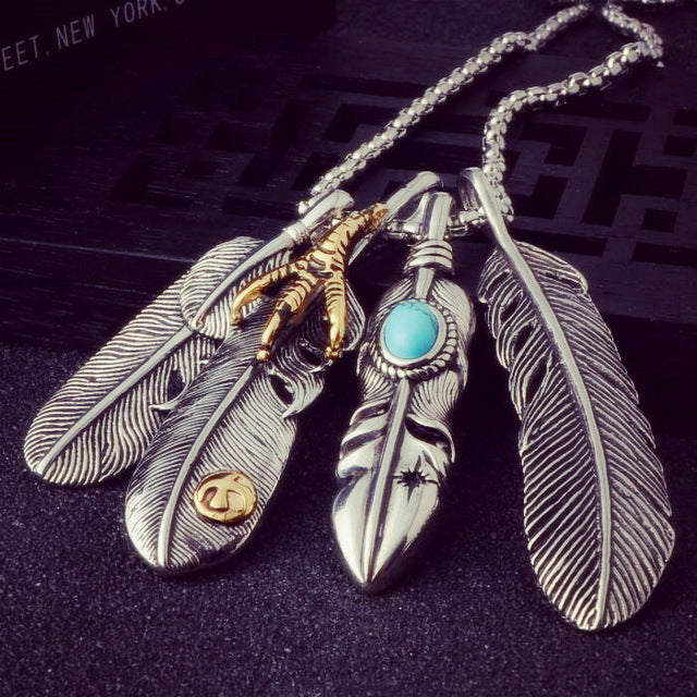 Long Men Eagle Claw Feather Pendant Necklace