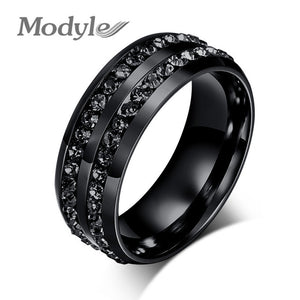 Fashion Men Rings Crystyal Rings Stainless Steel Men