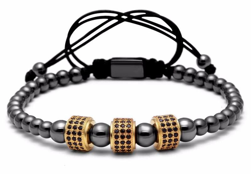 Titanium Steel and cz paved Beads Bracelet