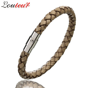 Leather Bracelet Men Stainless Steel Magnetic Clasp