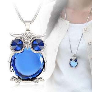Fashion Women Sweater Chain Necklace - Owl Design Rhinestones Crystal Pendant Necklace