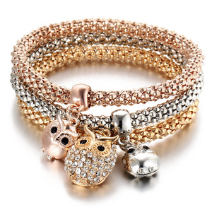 3Pcs/Set Crystal Rhinestone Owl Crown Charm 3 Color Rose Gold Color Elephant Anchor Pendant Bracelet&Bangle Women Jewelry Gift